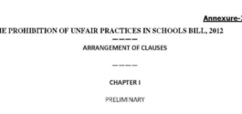 The Prohibition of unfair Practices in School Bill 2012 – Introduction